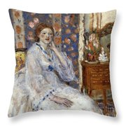Woman Seated In An Armchair Throw Pillow