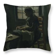 Woman Sewing Nuenen, March - April 1885 Vincent Van Gogh 1853 - 1890 Throw Pillow
