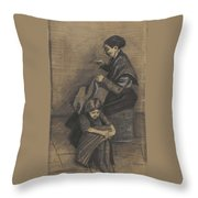 Woman Sewing, With A Girl The Hague, March 1883 Vincent Van Gogh 1853 - 1890 Throw Pillow