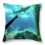 Woman Shark Enjoyng Throw Pillow