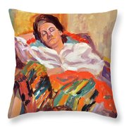 Woman Sleeping Throw Pillow