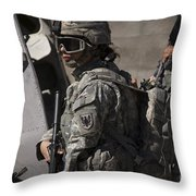 Woman Soldier Conducts A Combat Throw Pillow