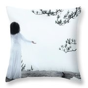 Woman Standing On A Cliff With Spread Hands Embracing The World Throw Pillow