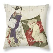 Woman Standing On The Rope Of A Kite Throw Pillow