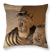 Woman Statue Holds A Mask Of Pan Throw Pillow