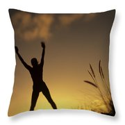 Woman Stretching On A Mountain Throw Pillow
