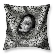 Woman Surrounded By Cloth Of Paisley Prints Throw Pillow