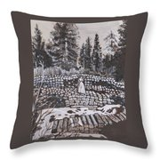 Woman Tie Hack Historical Vignette From River Mural Throw Pillow