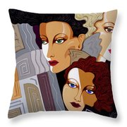 Woman Times Three Throw Pillow