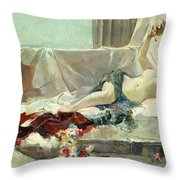 Woman Undressed Throw Pillow by Joaquin Sorolla y Bastida