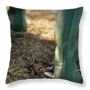 Woman Walking In Field In Green Boots Throw Pillow