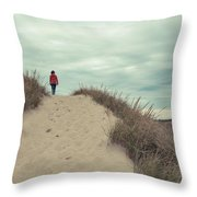 Woman Walking In The Dunes Of Cape Cod Throw Pillow