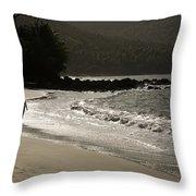 Woman Walking On A Deserted Beach Throw Pillow