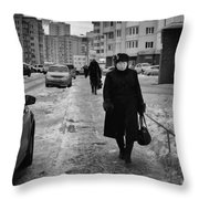 Woman Walking On Path In Russia Throw Pillow