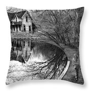 Woman Walking To Old House Throw Pillow