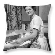 Woman Washing Dishes, C.1960s Throw Pillow