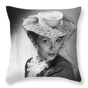 Woman Wearing A Hat & Veil Throw Pillow