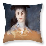 Woman Wearing A Hat With Silk Gauze Throw Pillow