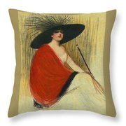 Woman Wearing Hat Throw Pillow