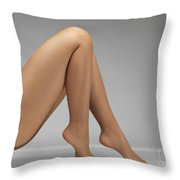 Woman Wearing Pantyhose Throw Pillow