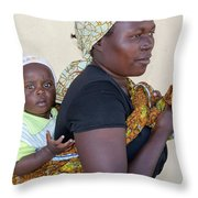 Woman With A Baby In Tanzania Throw Pillow