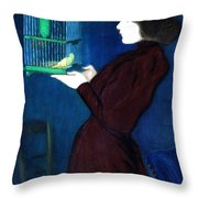 Woman With A Bird Cage  Detail Throw Pillow