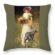Woman With A Dog Throw Pillow