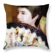 Woman With A Fan Throw Pillow