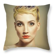 Woman With A Funky Hairstyle Throw Pillow