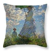 Woman With A Parasol, Madame Monet And Her Son, Claude Monet Digitally Enhanced Throw Pillow