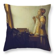 Woman With A Pearl Necklace Throw Pillow