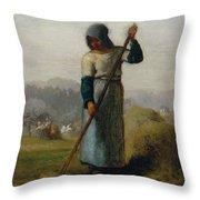Woman With A Rake Throw Pillow