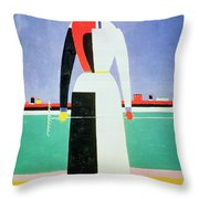 Woman With A Rake Throw Pillow