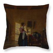 Woman With A Water Pitcher And A Man By A Bed The Maidservant Throw Pillow
