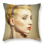 Woman With An Edgy Hairstyle Throw Pillow