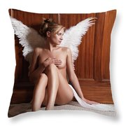 Woman With Angel Wings Throw Pillow