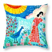 Woman With Apple And Peacock Throw Pillow by Sushila Burgess