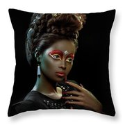 Woman With Beehive Hairstyle And Jewelry Headdress Throw Pillow