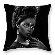 Woman With Beehive Hairstyle And Jewelry Headdress Owner Throw Pillow