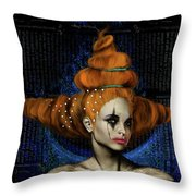 Woman With Big Hair Throw Pillow