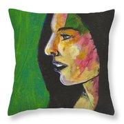 Woman With Black Lipstick Throw Pillow