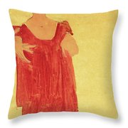 Woman With Blue Hair Throw Pillow