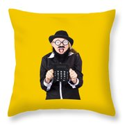 Woman With Electronic Calculator Throw Pillow
