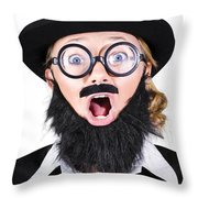 Woman With Fake Beard And Mustache Screaming Throw Pillow