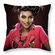Woman With Floral Headdress In Pink Dress Throw Pillow