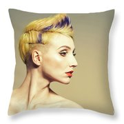 Woman With Funky Hairstyle Throw Pillow