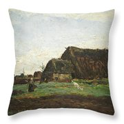 Woman With Goat Throw Pillow