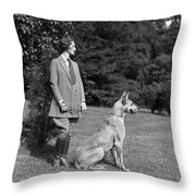 Woman With Great Dane, C.1920-30s Throw Pillow