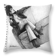 Woman With Gun By Kyle Anderson Throw Pillow