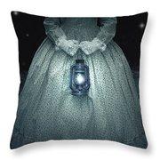 Woman With Lantern Throw Pillow